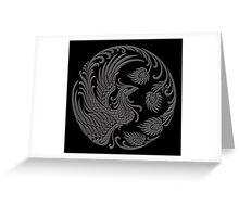 Traditional Dark Chinese Phoenix Circle Greeting Card