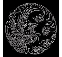Traditional Dark Chinese Phoenix Circle Photographic Print