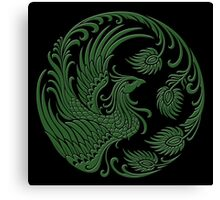 Traditional Green and Black Chinese Phoenix Circle Canvas Print