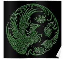 Traditional Green and Black Chinese Phoenix Circle Poster