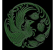 Traditional Green and Black Chinese Phoenix Circle Photographic Print