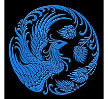 Traditional Blue Chinese Phoenix Circle Photographic Print