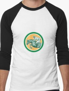 Equestrian Show Jumping Side Circle Retro Men's Baseball ¾ T-Shirt