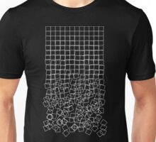 Decaying Squares (Schotter) (White on Dark Shirt) Unisex T-Shirt