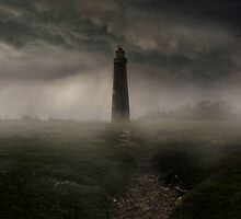 Lighthouse in the rain by JBlaminsky