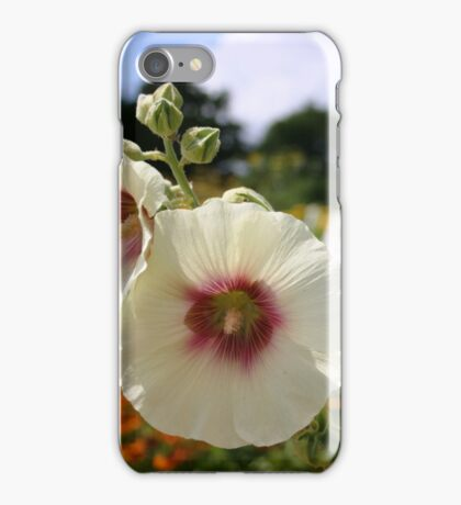 White and Red Hollyhock iPhone Case/Skin