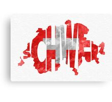 Switzerland Typographic Map Flag Canvas Print