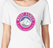 MOUNT RAINIER NATIONAL PARK WASHINGTON 1899 HIKING CAMPING CLIMBING PINK Women's Relaxed Fit T-Shirt