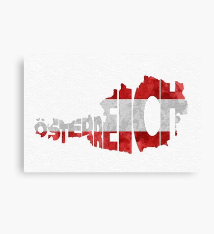 Austria Typographic Map Flag Canvas Print
