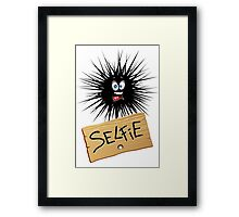 Selfie Fun Cartoon Face Framed Print