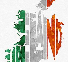 Ireland Typographic Map Flag by A. TW