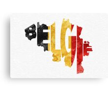 Belgium Typographic Map Flag Canvas Print