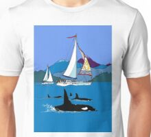 Sailing along the Orcas Unisex T-Shirt