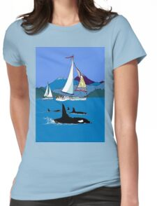 Sailing along the Orcas Womens Fitted T-Shirt