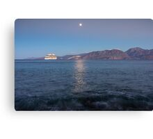 Cruise Ship Departing in the Moonlight Canvas Print