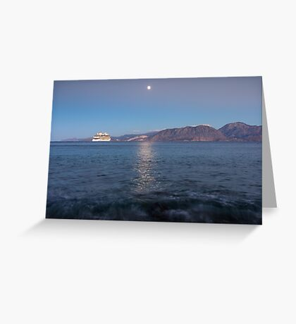 Cruise Ship Departing in the Moonlight Greeting Card