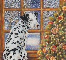 Christmas Dog Art - Dalmatian Puppy by the Christmas Tree by AlessandraArt