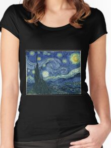 Vincent Van Gogh - The Starry night  Women's Fitted Scoop T-Shirt