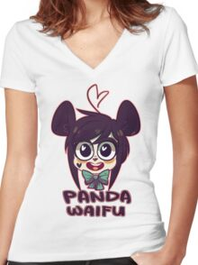Panda Waifu Women's Fitted V-Neck T-Shirt