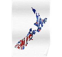 New Zealand Typographic Map Flag Poster