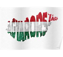 Hungary Typographic Map Flag Poster