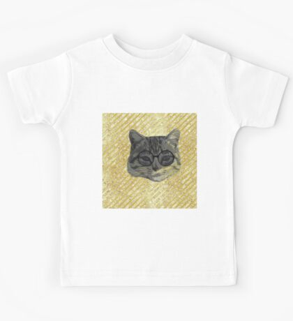 cool cat, hipster art, modern,trendy,cat with glasses on gold, glitter,glam,background Kids Tee