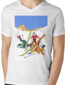Skiing mishap Mens V-Neck T-Shirt