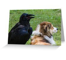 raven and dog Greeting Card