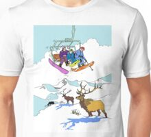 Looking at Elks from a ski-lift Unisex T-Shirt