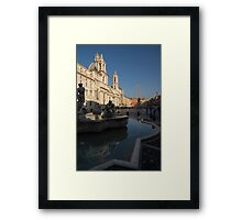 Roman Morning - Shadow and Light on Piazza Navona, Rome, Italy Framed Print