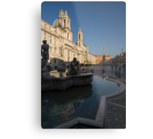Roman Morning - Shadow and Light on Piazza Navona, Rome, Italy Metal Print