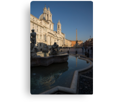 Roman Morning - Shadow and Light on Piazza Navona, Rome, Italy Canvas Print