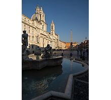 Roman Morning - Shadow and Light on Piazza Navona, Rome, Italy Photographic Print