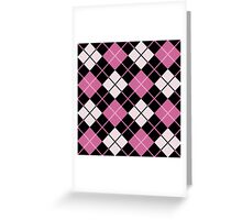 Plaid,tartan,black,pink,white,modern,trendy,traditional,contemporary pattern Greeting Card