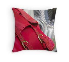 red leather bag Throw Pillow