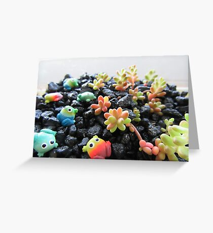 Frogs and Succulents Greeting Card
