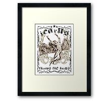 ICARUS THROWS THE HORNS - extreme distress t-shirt design Framed Print