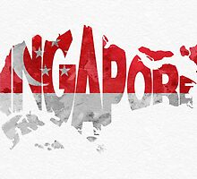Singapore Typographic Map Flag by A. TW