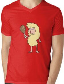 cartoon cavewoman with meat Mens V-Neck T-Shirt