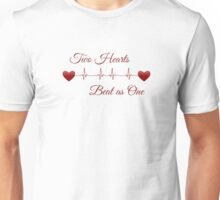 Two Hearts Beat as One EKG Heartbeat Lover Unisex T-Shirt