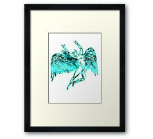 ICARUS THROWS THE HORNS - super bright neon Framed Print