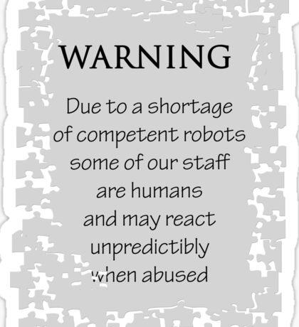 Employee Warning Sticker