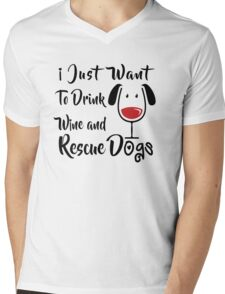 Drink Wine and Rescue Dogs Mens V-Neck T-Shirt
