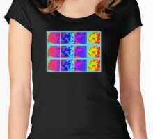 Bright Neon Yellow Red Blue Purple Flower Collage Women's Fitted Scoop T-Shirt