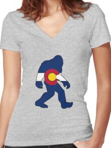 Colorado flag big foot yeti Women's Fitted V-Neck T-Shirt