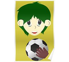 Goalkeeper. Boy with a ball Poster