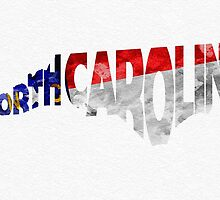 North Carolina Typographic Map Flag by A. TW