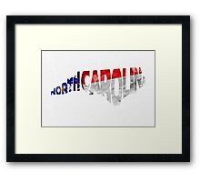 North Carolina Typographic Map Flag Framed Print