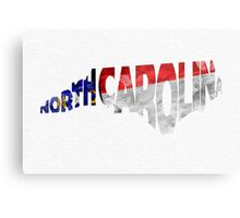 North Carolina Typographic Map Flag Metal Print