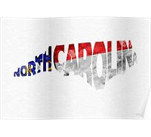 North Carolina Typographic Map Flag Poster